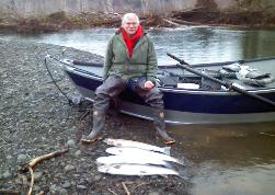 John with a couple of nice limits of big Wynoochee River Winter Steelhead